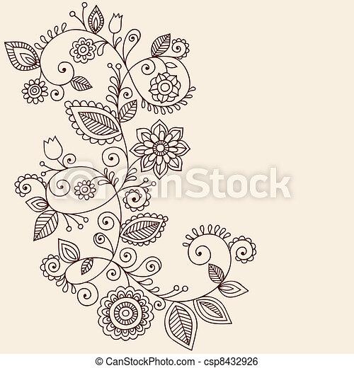 Vines Henna Tattoo Paisley Vector - csp8432926