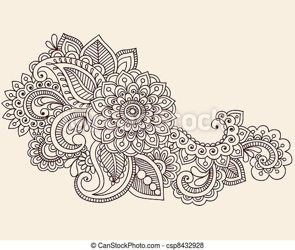 Henna Mehndi Tattoo Doodles Vector - csp8432928