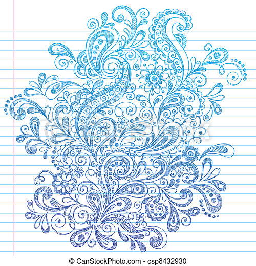 Abstract Henna Paisley Doodle - csp8432930