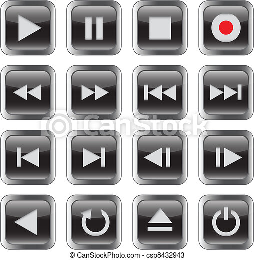 Multimedia control icon set - csp8432943