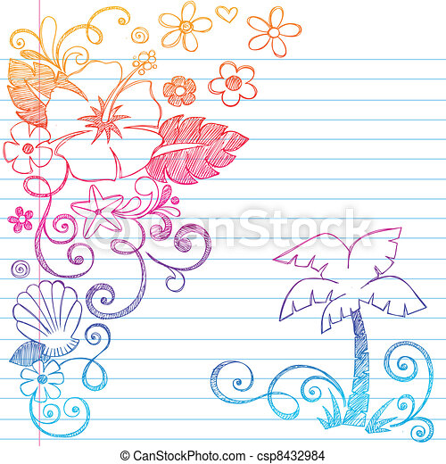 Hand-Drawn Tropical Hibiscus Flower - csp8432984