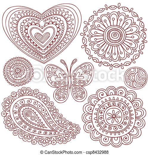Henna Doodles Design Elements Set - csp8432988