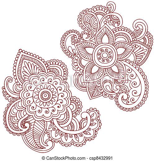 vektor clip art von doodles vektor design henna blume henna mehndi csp8432991. Black Bedroom Furniture Sets. Home Design Ideas
