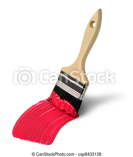 Brush with red paint stroke - csp8433138