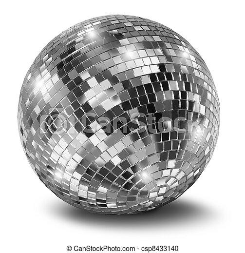 Silver disco mirror ball - csp8433140