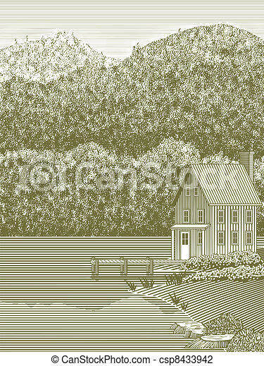 Woodcut Lake House - csp8433942