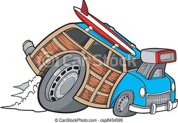 Woody Wagon Racer Car Vector - csp8434595
