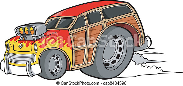 Woody Wagon Racer Car Vector - csp8434596