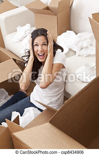 Woman Screaming Unpacking Boxes Moving House - csp8434906