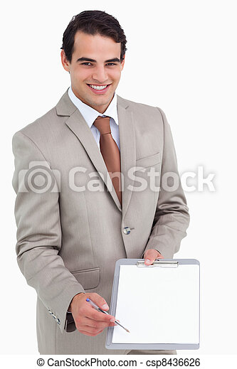 Smiling salesman asking for signature - csp8436626