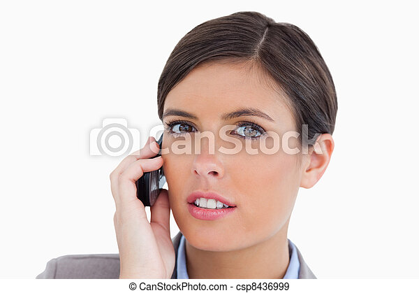 Close up of female entrepreneur talking on her cellphone - csp8436999