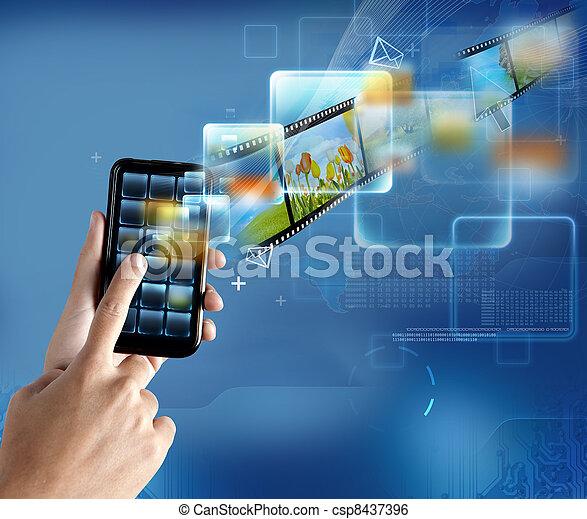 teknologi,  smartphone, nymodig - csp8437396