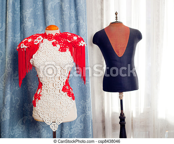 dressmakers and tailor mannequin fashion - csp8438046