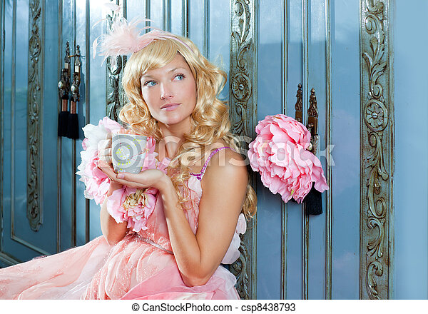 blond fashion princess woman drinking tea or coffee - csp8438793