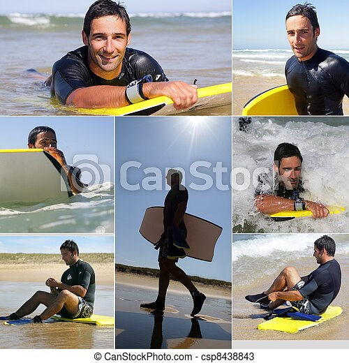 Collage of a man surfing - csp8438843