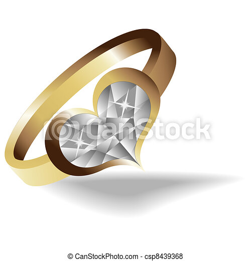 Gold ring with brilliant heart - csp8439368