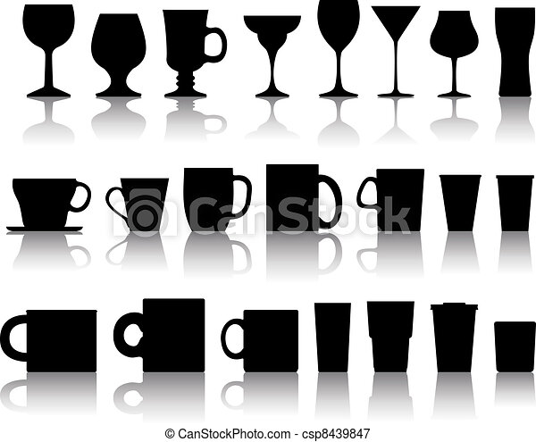 vector set of cups, mugs, wineglasses - csp8439847