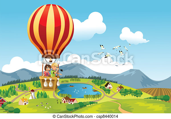 Kids riding hot air balloon - csp8440014