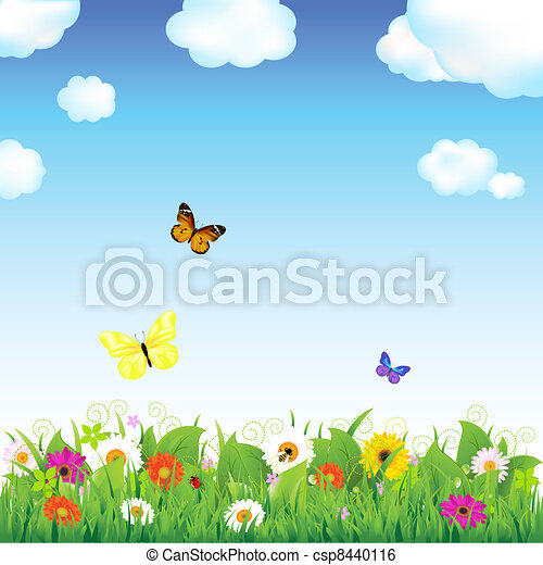 Flower Meadow With Butterflies - csp8440116