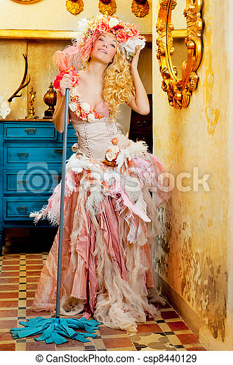 baroque fashion blonde housewife woman mop chores - csp8440129