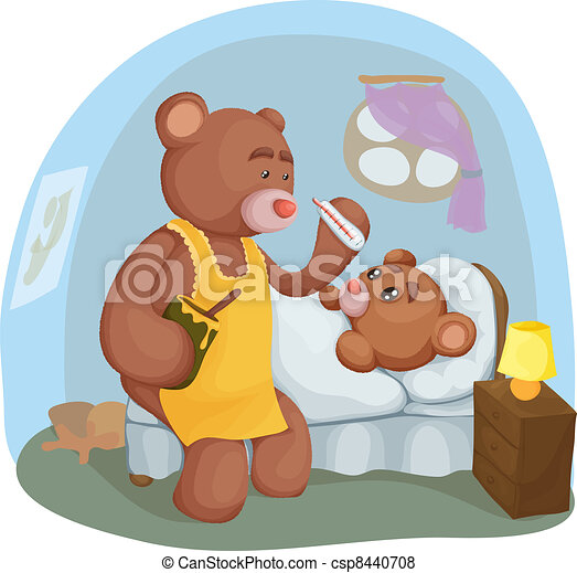 Sick teddy bear with her mother - csp8440708