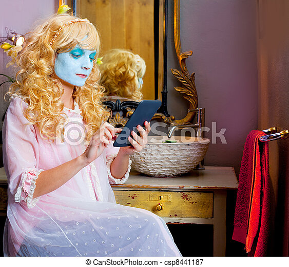 Humor woman in bathroom with ebook tablet - csp8441187