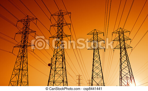 Electric Power Transmission Lines at Sunset - csp8441441