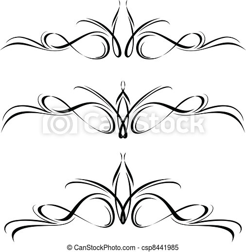 Abstract black flora design element. - csp8441985