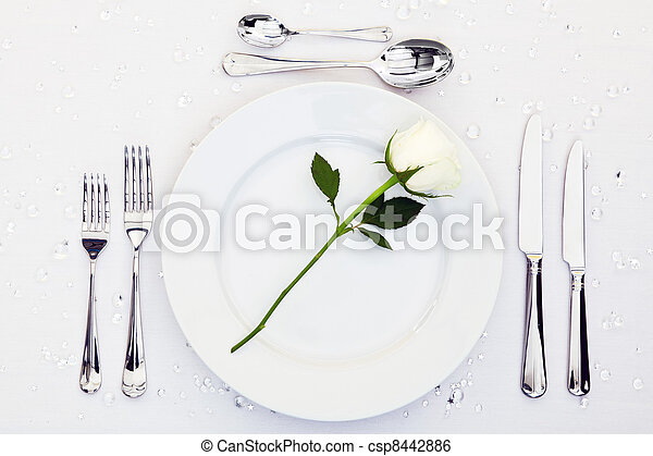 Place setting with white rose - csp8442886