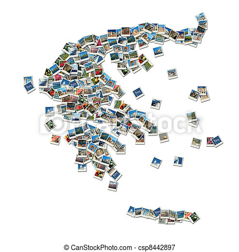 Map of Greece - collage made of travel photos - csp8442897