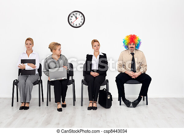 There's one in every crowd - clown among job candidates - csp8443034