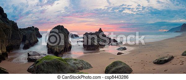 panorama, fridsam, kust, Kalifornien, solnedgång, längs, Motorväg - csp8443286