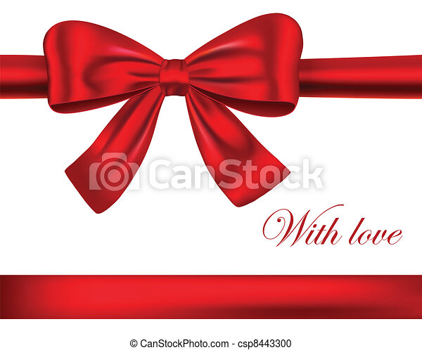Red gift ribbons with bow - csp8443300