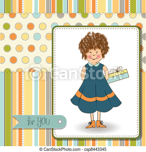 curly young girl she hide a gift - csp8443345