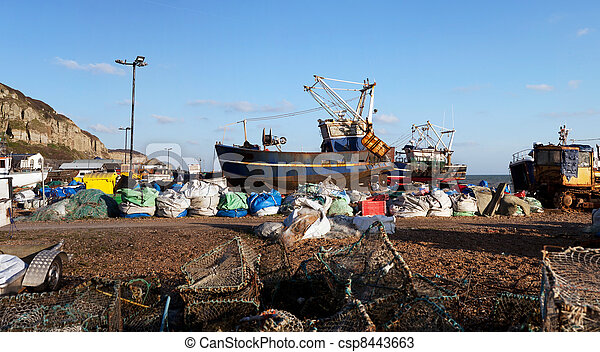 Trawler fishing boat industry Hastings England - csp8443663