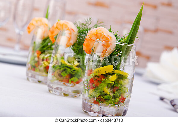 Prawn salad served in the glasses - csp8443710