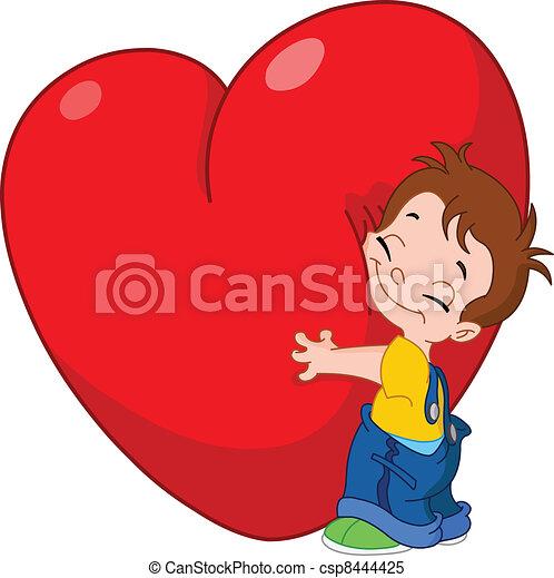 Kid hug heart - csp8444425