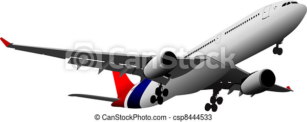 Passenger  Airplane on the air. Vector illustration - csp8444533