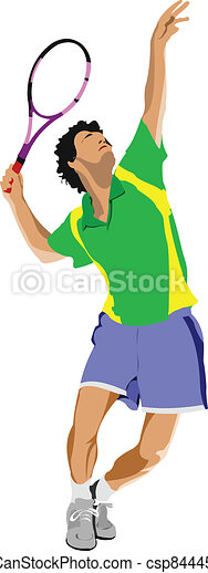 Tennis player. Colored Vector illus - csp8444577