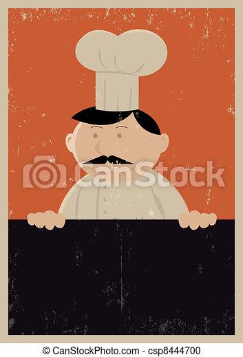 Grunge Chef Menu Poster - csp8444700