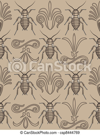 Elegant cockroach wallpaper pattern - csp8444769