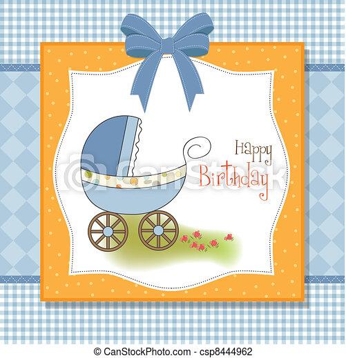 baby card with pram - csp8444962