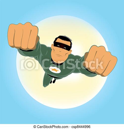 Comic-like Green Super-Hero - csp8444996