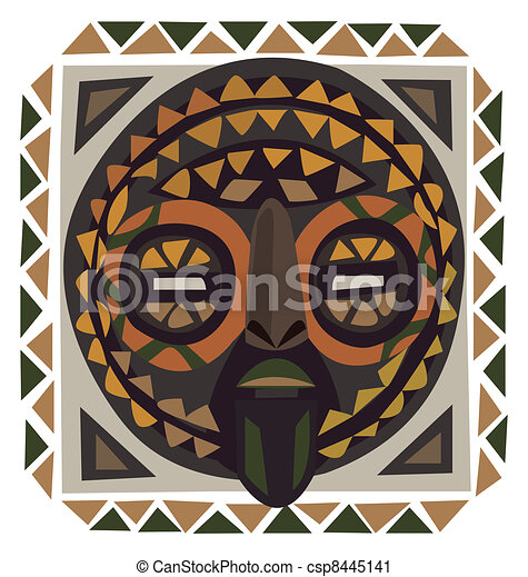 African Masks Drawings African Mask Csp8445141