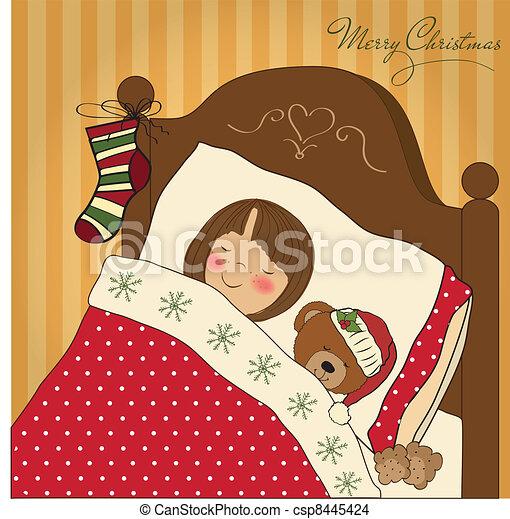 little girl waiting for Santa - csp8445424