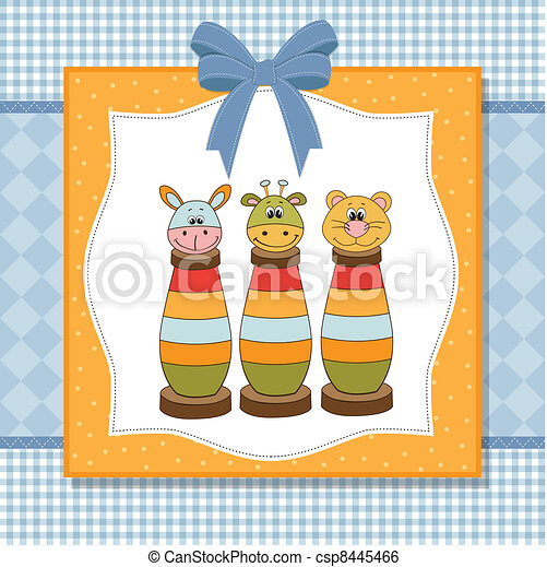 baby shower card with toys - csp8445466