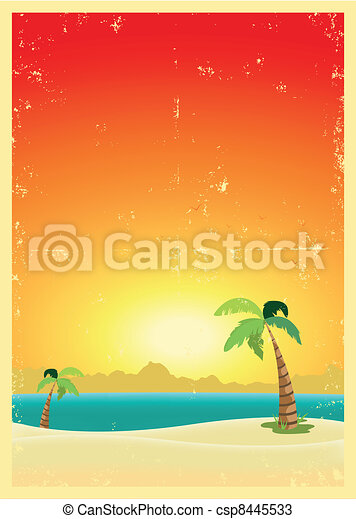 Exotic Beach Grunge Postcard - csp8445533
