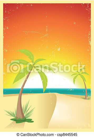 Exotic Beach Grunge Postcard - csp8445545