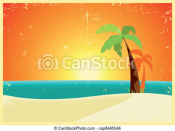Grunge Tropical Beach Poster - csp8445546