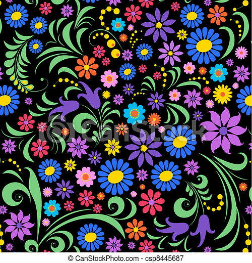 colorful flower on black background - csp8445687
